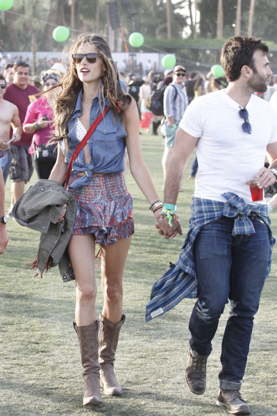 Alessandra Ambrosio seen attending 'The Coachella Valley Music and Arts Festival'2013 in California with her 'Entourage' team on third day of festival
