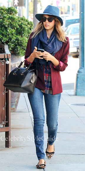 What-Was-She-Wearing-Jessica-Alba-Plaid-Shirt-Red-Blazer-steps-out-in-Los-Angeles