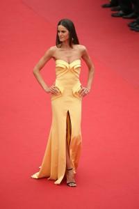 Izabel Goulart con un vestido amarillo dorado de Georges Hobeika.