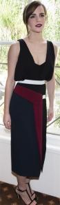 Emma Watson con un elegante vestido en negro, azul marino y granate de la colección Fall 2014.