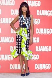 """Kerry Washington en la presentación de la pelicula """"Django desencadenado"""" con un vestido en tonos oscuros de la colección spring 2013."""